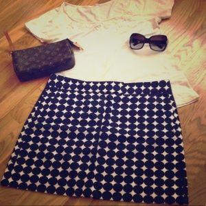 J. CREW Navy Blue White Dot ⭕️ Mini Skirt Size 12